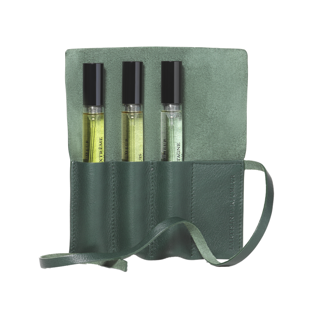 Leather pouch - Spruce green