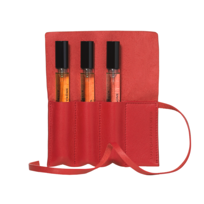 Leather pouch - Poppy red
